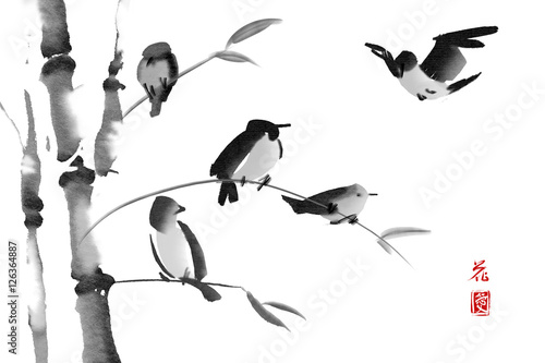 Birds sitting on the bamboo tree branch. Watercolor and ink illustration in style sumi-e. Oriental traditional painting. Hieroglyphs featured means love and a flower. - 126364887