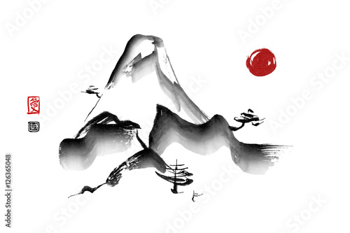 Mountain mist landscape Japanese style original sumi-e ink painting. Hieroglyphs featured means love and sincerity. Great for greeting cards, posters or texture design.