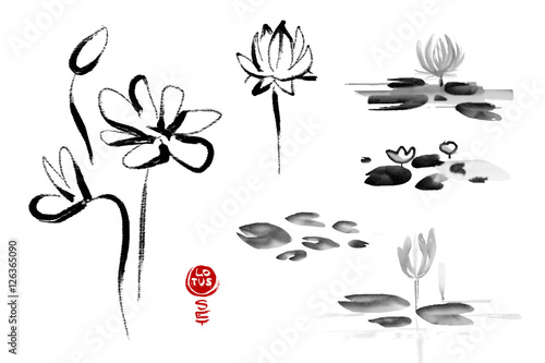 Lotus flowers hand drawn with ink isolated on white background with lotus flowers hand drawn with ink isolated on white background with text lotus set mightylinksfo