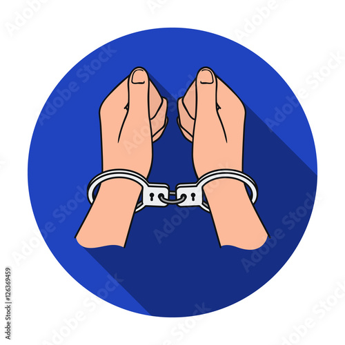 Foto op Aluminium Pixel Hands in handcuffs icon in flat style isolated on white background. Crime symbol stock vector illustration.