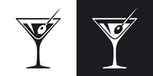 Vector Martini Glass Icon. Two...