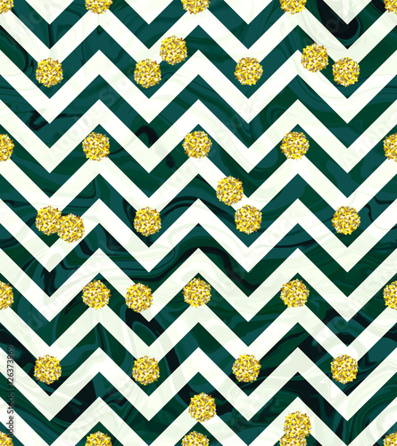 Trendy Gold Glitter Seamless Polka Dot Pattern Great Texture With Golden Dots On Chevron Emerald