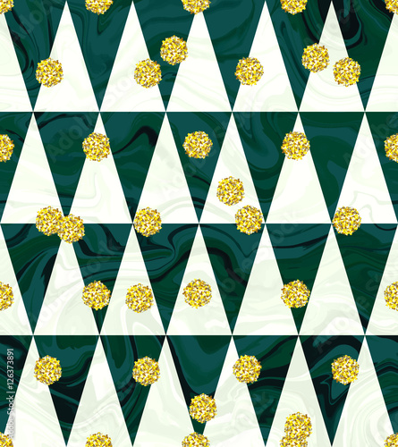Trendy Gold Glitter Seamless Polka Dot Pattern Great Texture With Golden Dots On Triangular Chevron
