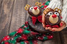 Funny Christmas Reindeer Cupcakes