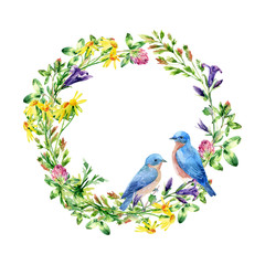 FototapetaWatercolor wild flowers and small birds wreath