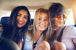 canvas print picture - Three multiracial young woman friends
