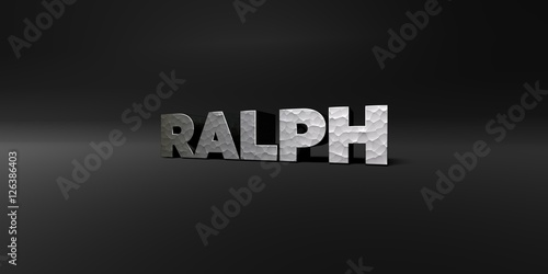 Fototapety, obrazy: RALPH - hammered metal finish text on black studio - 3D rendered royalty free stock photo. This image can be used for an online website banner ad or a print postcard.