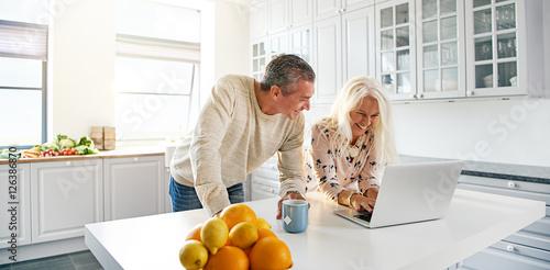 Obraz na plátně  Senior couple relaxing in a kitchen with a laptop