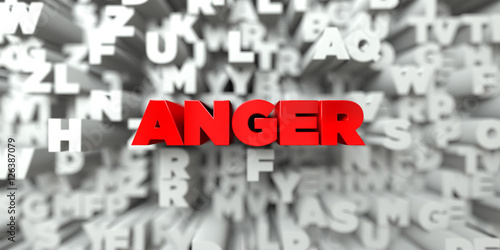 Fotografie, Tablou  ANGER -  Red text on typography background - 3D rendered royalty free stock image