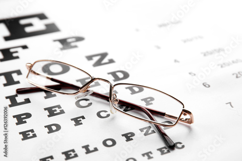 Glasses Lying On Eye Test Chart Close Up View Healthy Eyes Concept