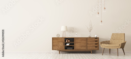 Fotografie, Obraz  Interior with wooden cabinet and armchair 3d rendering