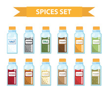 Set Spices In Jars, Flat Style...