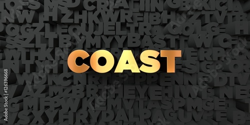 Valokuva  Coast - Gold text on black background - 3D rendered royalty free stock picture