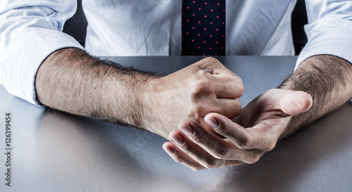 fighting corporate hands expressing resolution, conviction, anger or annoyance p Fototapeta
