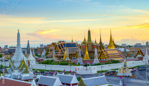 Grand palace and Wat phra keaw at sunset bangkok, Thailand. Beautiful Landmark of Thailand. Temple of the Emerald Buddha.