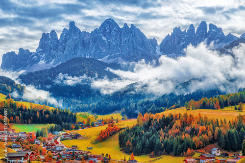 Santa Maddalena village, Dolomiti mountains, Italy. Canvas Print