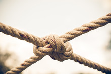 Close Up Coil Of Rope With Nature Background.