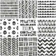 Set Of 8 Primitive Geometric Patterns. Tribal Seamless Backgrounds. Stylish Trendy Print. Modern Abstract Wallpaper. Vector Illustration.