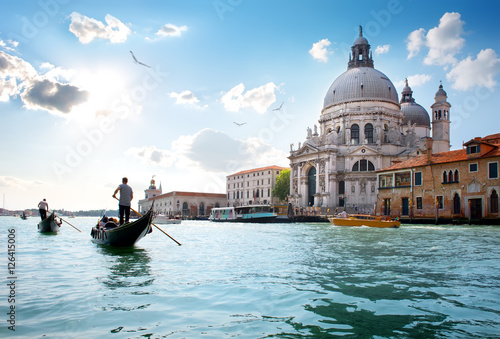 Türaufkleber Gondeln Old venetian cathedral