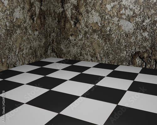 Black and white Vintage Floor Tiles Background with Grungy Walls