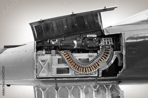 Fotografie, Obraz  close up of machine gun on aircraft figther