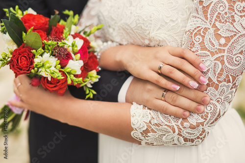 Two Golden Wedding Rings On Fingers Of Just Married People Elegant