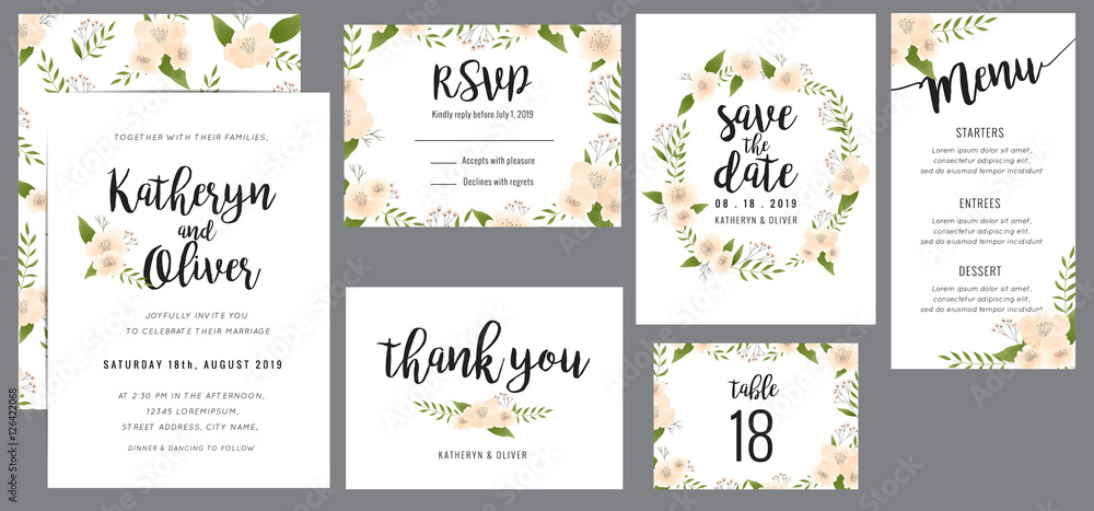 Fototapety, obrazy: Set of wedding suite template decorate with wreath flowers. Save the date, wedding invitation, wedding menu, thank you card. Vector illustration.