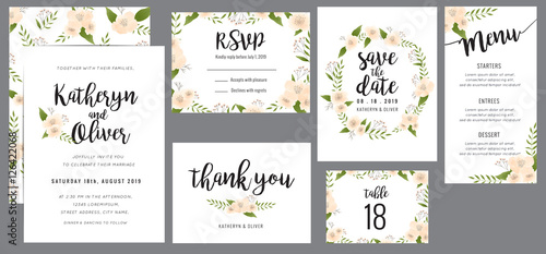 Fotografia  Set of wedding suite template decorate with wreath flowers