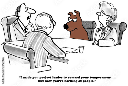 Fotografie, Obraz  Business cartoon about a business dog known for his good temperament who is now barking at people