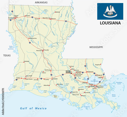 road map of the US American Federal State Louisiana with ...