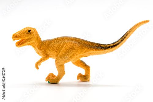 Photo  Velociraptor toy model on white background