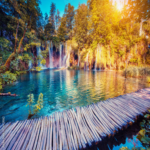 Poster Landscapes Majestic view on turquoise water. Location famous resort Plitvic