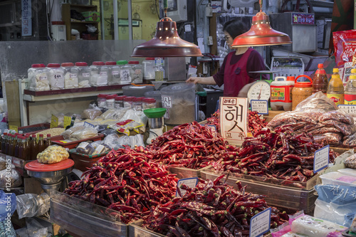 Traditional food market in Busan, Korea