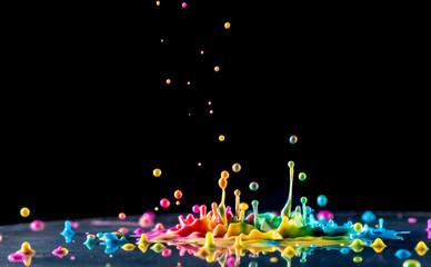 Splashing color ink