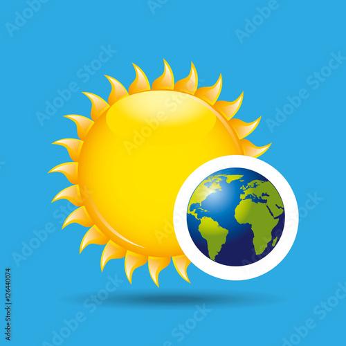 Foto op Aluminium Pixel earth rotation the sun icon design vector illustration eps 10
