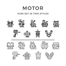 Set Icons Of Motor And Engine