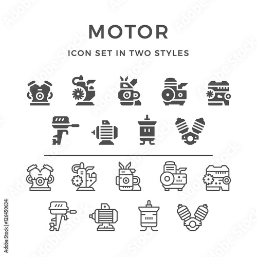 Set icons of motor and engine Fototapete