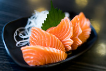 Sliced Salmon Sashimi, Japanese Raw Food Delicious Menu, Famous Fish From Norway