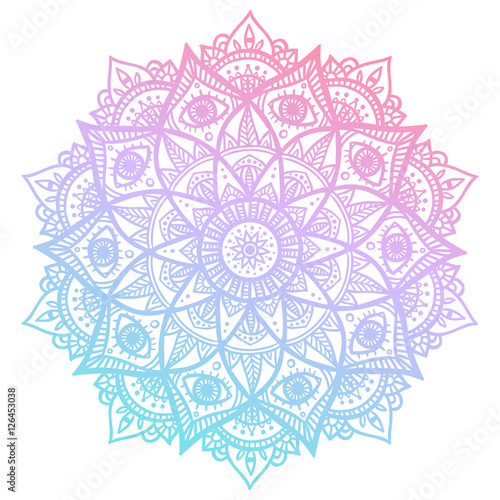 Valokuva  Colorful blue and pink flower mandala