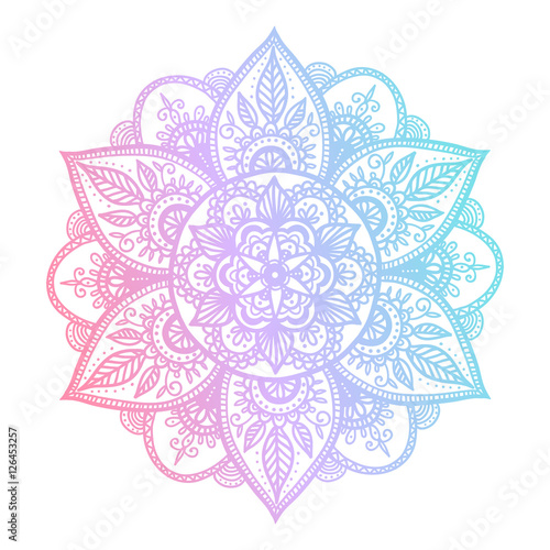 Colorful blue and pink flower mandala Wallpaper Mural