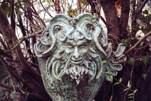 Satyr Woodland God Face Sculpture