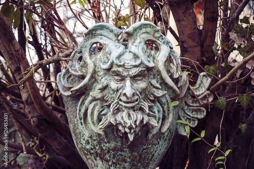 Satyr Woodland god face sculpture Canvas Print