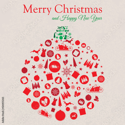 Christmas Bauble-Shaped Collage of Christmas Elements stock images