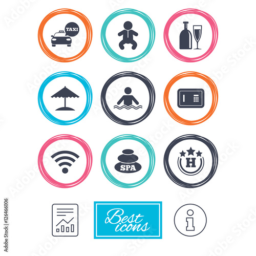 Hotel, apartment service icons. Spa, swimming pool signs ...