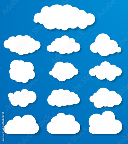 Poster Ciel set of white clouds on a blue background