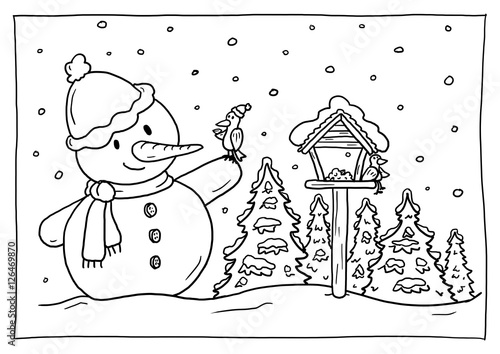ausmalbild winter stockillustration  adobe stock