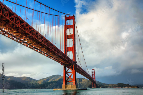 Golden Gate Bridge in San Francisco on a partly cloudy day