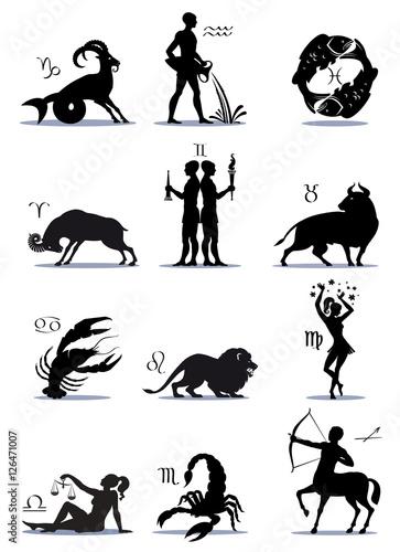 Signs Greek Zodiac Horoscope Illustration Silhouettes Symbols
