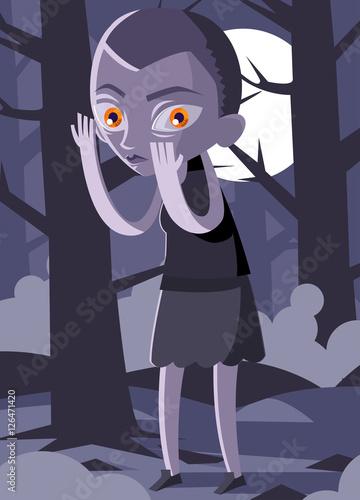 Fotografía  stranger alien girl in the woods