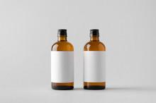 Pharmaceutical Bottle Mock-Up - Two Bottles. Blank Label